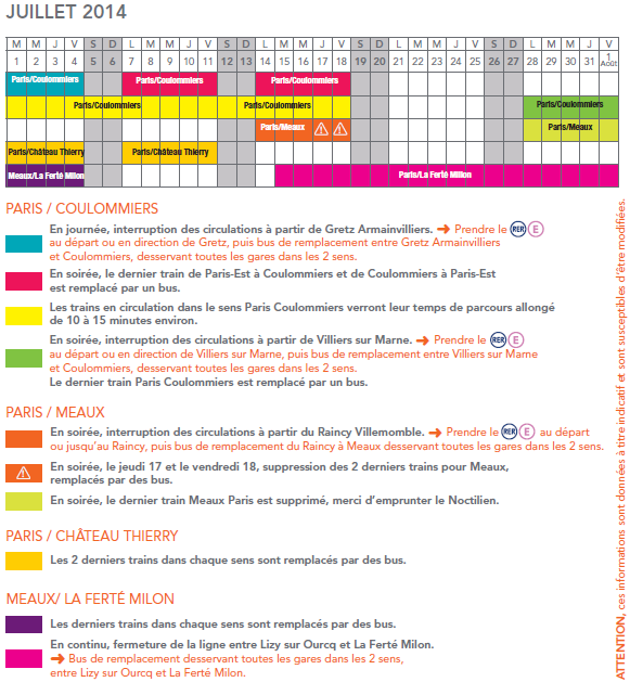 Calendrier horaires travaux juillet 2014 ligne P