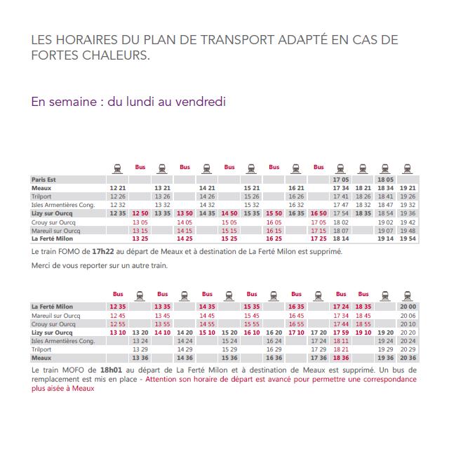 Horaires du plan de transport adapté en semaine
