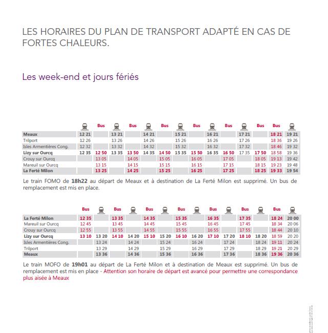 Horaires du plan de transport adapté les WE et jours fériés