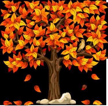 stickers illustration arbre automne