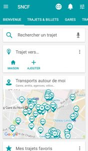Appli SNCF accueil
