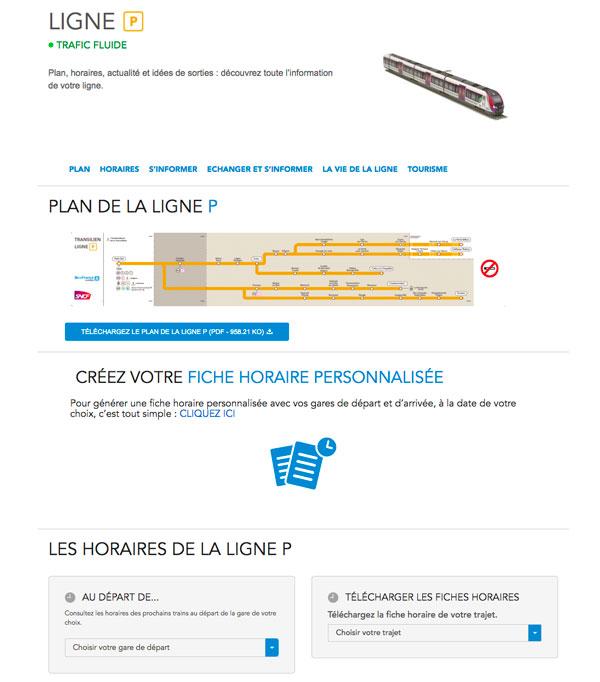 Capture de la page ligne P sur le site transilien.com